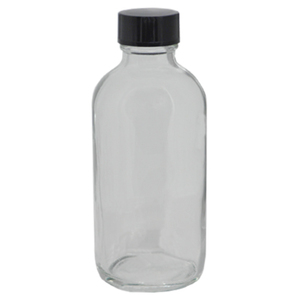 "4 oz. Clear Boston Round Glass Bottles - 4.5""High x 1.75""Diameter Case of 128 (DL-C386)"