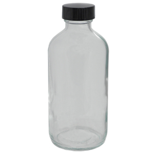 "8 oz. Clear Boston Round Glass Bottles - 5.5""High x 2.125""Diameter Case of 96 (DL-C387)"