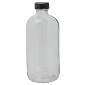 "16 oz. Clear Boston Round Glass Bottles - 6.75""High x 2.75""Diameter Case of 60 (DL-C388)"
