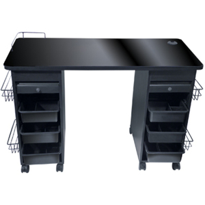 Manicure Table With Lockable Drawers & Glass Top (9035)