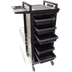 5-Tray Lockable Solid Metal Salon Trolley With Station Mat (9043)