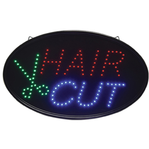 "Oval ""Hair Cut"" LED Sign - Indoor Use 14-14""H x 23""W (FSC-922)"