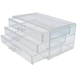 "Clear Acrylic Organizer with 3 Drawers 4-12""H x 9-12""W x 5-12""D (FSC683)"