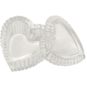 "Heart-Shaped Glass Jar With Lid 3""L X 3""W X 1-12""H (DL-C442)"