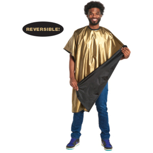 "Metallic Gold - Black Reversible Cape 44"" x 60"" (4144)"
