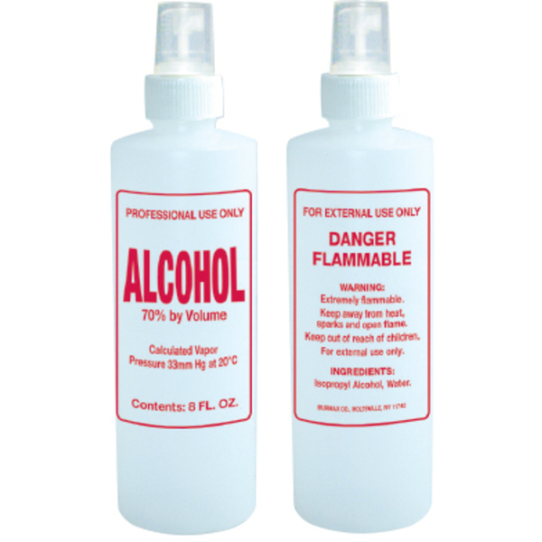 8 oz. Imprinted Nail Solution Bottle - Alcohol - Spray Top (B113)