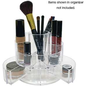 "Clear Acrylic Cosmetic Organizer 5.5""H x 6"" Diameter Closed. 12.5"" Wide When Open (FSC698)"