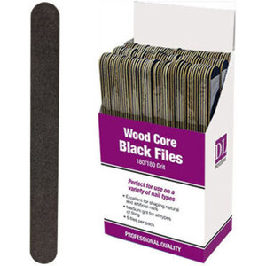 Professional Wood Core Black Nail File - 180180 Grit Display With 150 Files (DL-C472)