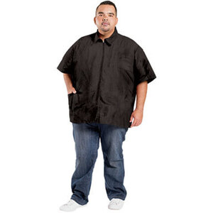 Plus Size Nylon Barber Jacket - Black 1X (BD8941X)
