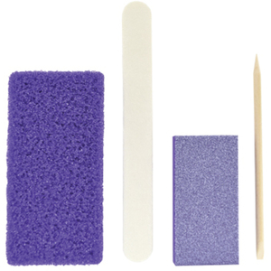 Disposable Mini Pedicure Kit 4 Piece Kit - Pumice Sponge + Wooden Nail File 80 Grit + Nail Buffer 100 Grit + Wooden Orange Stick (DL-C554)