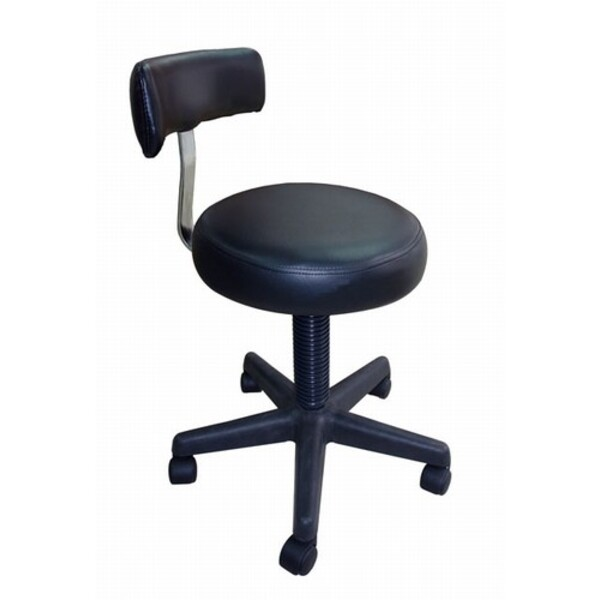 Spa Masters Black Round Stool with Back (SY-7088)