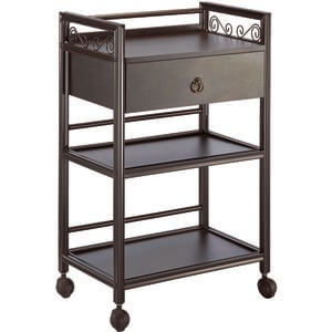 The Ashley Wooden Esthetician Trolley - Brown 3 Shelves + 1 Drawer (XY-568-112-BN)