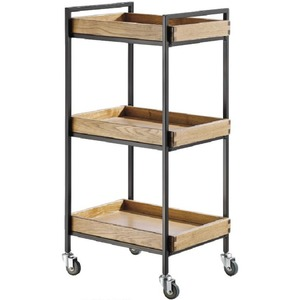 The Hadlee Wood+Metal Esthetician Trolley - Light Wood 3 Shelves (XY-27982-08)
