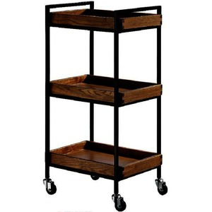 The Hadlee Wood+Metal Esthetician Trolley - Dark Wood 3 Shelves (XY-27982-03)