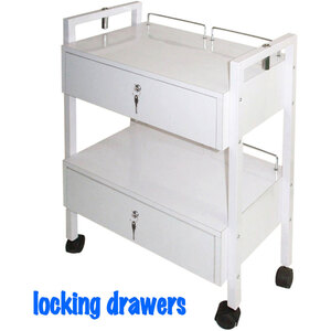 The Aubrey Wooden Esthetician Trolley 2 Shelves + 2 Locking Drawers (XY-2701-4)