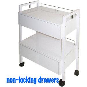 The Aubrey Wooden Esthetician Trolley 2 Shelves + 2 NON-Locking Drawers (XY-2701-2)