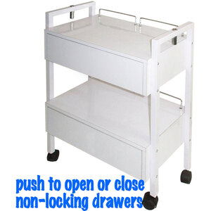 The Aubrey Wooden Esthetician Trolley 2 Shelves + 2 NON-Locking Drawers that are Push to Open - Push to Close (XY-2701-3)