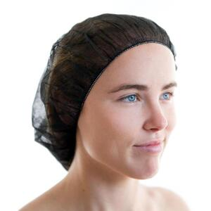 Canyon Rose Disposable Facial Bouffant Cap Black 100 Pack