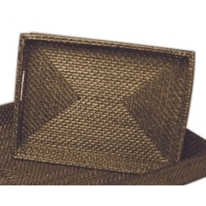 "14.5"" Rectangular Rattan Tray Brown"