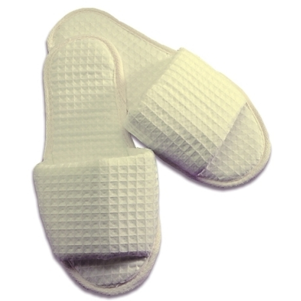 Ladies' Waffle Weave Slippers / Natural (C8983)