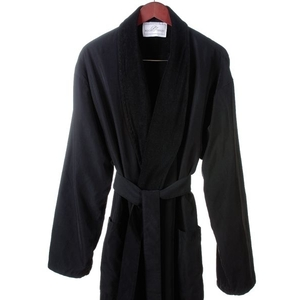 Microfiber Roll Collar Robe Black Regular (C4590)
