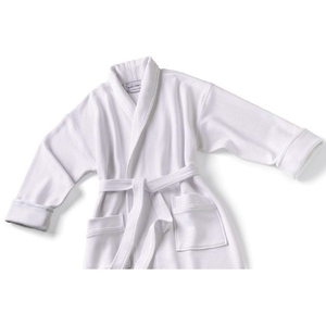 Knit Waffle Shawl Collar Robe White Regular (C4593)