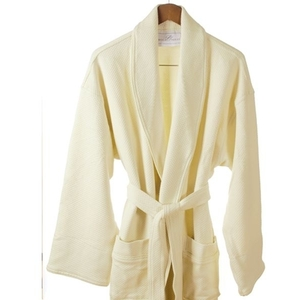 Knit Waffle Shawl Collar Robe Ecru Regular (C4595)