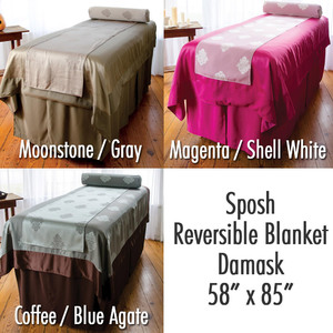 "Sposh Reversible Blanket / Damask / 58""W x 85""L - Available in Coffee / Blue Agate, Magenta / White"