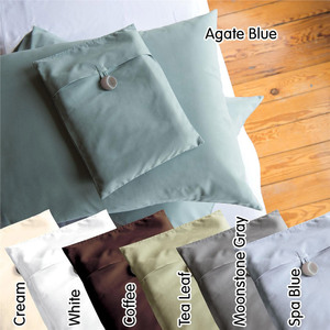 Sposh Pillow Case Set Queen - White Cream Coffee Roast Tea Leaf  Deep Agate Blue & Spa Blue