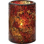 Hollowick Flameless Rechargeable LED Candle Lighting - Crackle Glass Votive Lamp Red & Gold