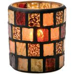 Hollowick Flameless Rechargeable LED Candle Lighting - Mosaic Votive Glass Lamp Amber