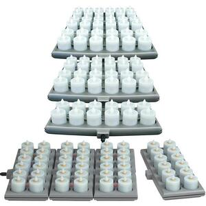 Hollowick Flameless Rechargeable LED Candle Lighting - Platinum Candles Amber 48 Pack