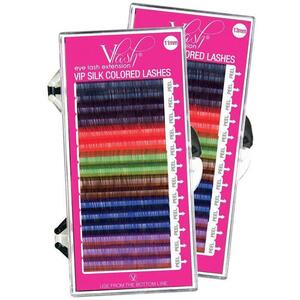 Vlash VIP Silk Colored Lashes - BlueBlack + PurpleBlack + Red + Green + Dark Brown + Blue + Purple .20 Thick Choose from 11 mm or 13 mm Long