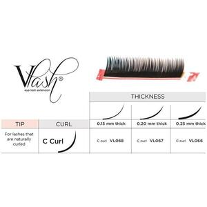 Vlash C Curl Silk Tray Lashes Mixed Lengths 9 mm - 13mm Long Choose from .15 - .25 Thick