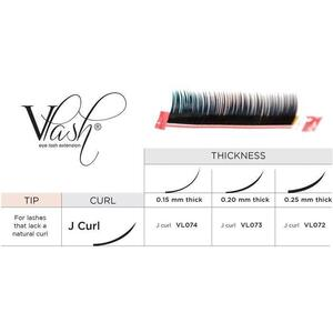 Vlash J Curl Silk Tray Lashes Mixed Lengths 9 mm - 13mm Long Choose from .15 - .25 Thick