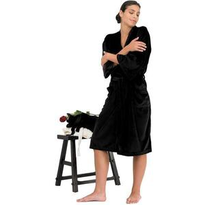 "Canyon Rose Cloud 9 Microplush Spa Robe - 42"" Long - One Size Fits Most Black"