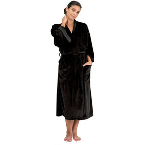 "Canyon Rose Cloud 9 Microplush Spa Robe - 48"" Long - One Size Fits Most Black"