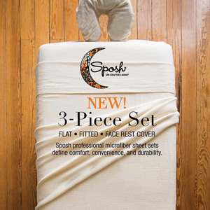 Sposh Professional 3-Piece Microfiber Sheet Sets - Flat Sheet + Fitted Sheet + Face Rest Cover Available in Cream and White