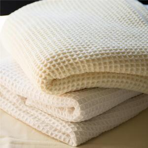 "Sposh Poly-Cotton Blend Waffle Weave Blankets - 66""W x 90""L Available in White and Natural"