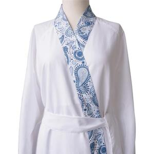 Sposh Microfiber Robe with Trim White Solid Body + White Sapphire Paisley Trim