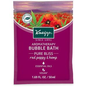 Kneipp Aromatherapy Bubble Bath - Pure Bliss - Red Poppy & Hemp 1.69 Fl. oz. - 50 mL.
