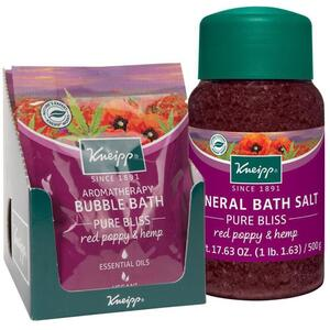 Kneipp Mineral Bath Salt - Pure Bliss - Red Poppy & Hemp 2.1 oz. - 60 grams Packet X 12