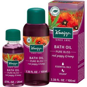 Kneipp Bath Oil - Pure Bliss - Red Poppy & Hemp 3.38 oz. - 100 mL.