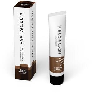 Vibrowlash Medium Brown Color Cream - Certified Vegan and Cruelty-Free Lash & Brow Tint 0.67 fl. oz. - 20 mL.