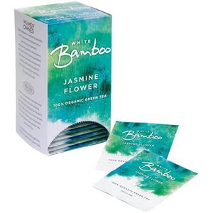 White Bamboo - Jasmine Flower - 100% Organic Green Tea 25 Count Box by White Lion Tea