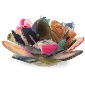 Nature's Artifacts - Rainbow Agate Lotus Candle Holder