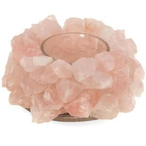 Nature's Artifacts - Rose Quartz Lotus Candle Holder