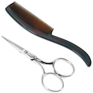 "Ultra Mustache Scissors and Comb - Comb Made in USA - Scissors Made in Italy 3.75"" L"