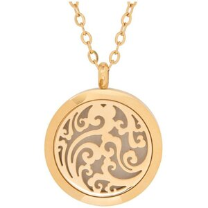 Serina & Company - Stainless Steel Golden Waves Pendant | Aromatherapy Jewelry for Retail!