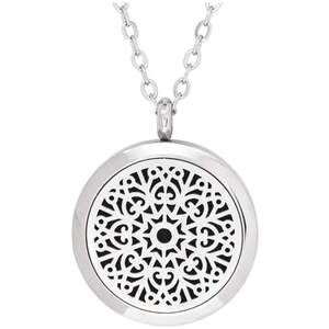 Serina & Company - Stainless Steel Love Floral Pendant | Aromatherapy Jewelry for Retail!